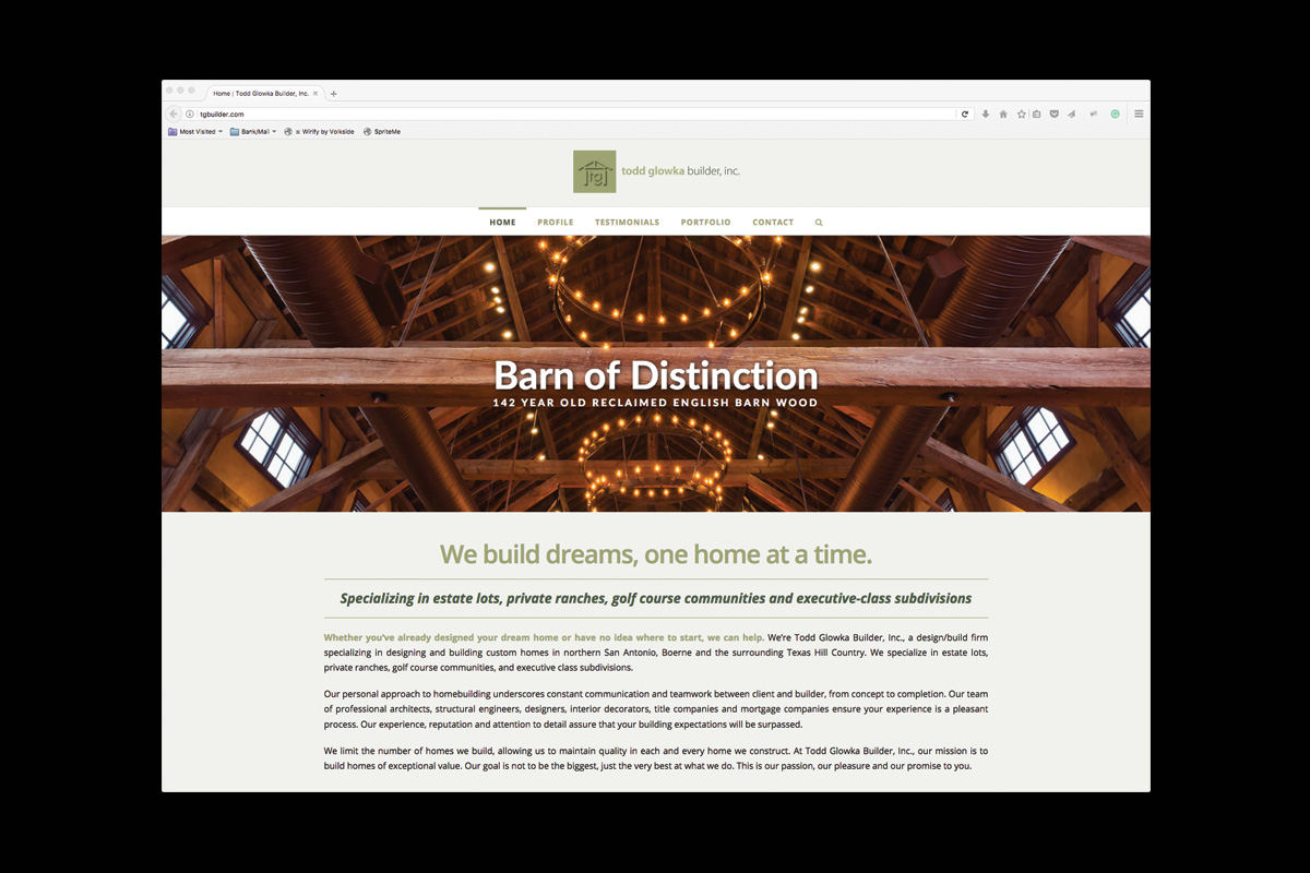Todd Glowka Builder website
